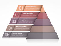 Pyramid Chart with Five Elements. Pyramid infographics template vector illustration