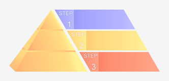 Pyramid chart with four elements with numbers and text, pyramid infographic template, vector eps10 illustration Stock Photos