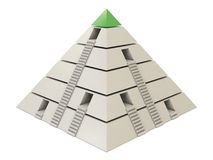 Pyramid chart green-white with stairs and holes Royalty Free Stock Photos