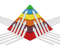 Pyramid chart multicolor Stock Image