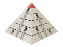 Pyramid chart red-white with stairs and holes Royalty Free Stock Photography