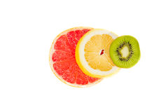 Pyramid charts of Fruits, top, traffic lights Stock Image