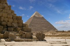 The Pyramid of Chefren. A blue sky at the Pyramids of Gizeh near Cairo in Egypt royalty free stock photos