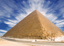 Pyramid of Cheops. Panoramic XXL of the famous pyramid of Giza. Egypt series Royalty Free Stock Photos