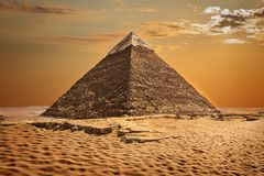 The Pyramid of Chephren beautiful view, Giza, Egypt. The Pyramid of Chephren beautiful view in Giza, Egypt royalty free stock photography