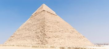 Pyramid of Chephren, Egypt. The Pyramid of Khafre or of Chephren is the second-tallest and second-largest of the Ancient Egyptian Pyramids of Giza and the tomb royalty free stock photo