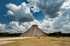 Pyramid in Chichen Itza. The main beach in Isla Contoy - Mexico Stock Image