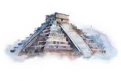 Pyramid Chichen Itza in Mexico watercolor drawing. Temple of Kukulkan aquarelle painting Royalty Free Stock Image