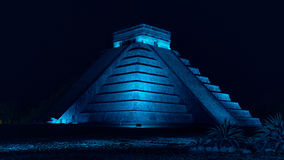 Pyramid of Chichen Itza. At night with blue light in Mexico Royalty Free Stock Photos