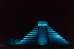 Pyramid of Chichen Itza at Night Stock Images