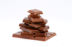 Pyramid of chocolate slices Stock Images