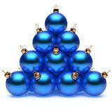 Pyramid Christmas balls blue New Year`s Eve baubles group. Adornment decoration glossy spheres ornament. Happy Merry Xmas traditional wintertime holidays stock illustration