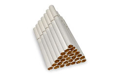 Pyramid of cigarettes. closeup isolated on white background Royalty Free Stock Image