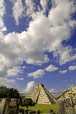 Pyramid in the Clouds. Pyramid in Chichen Itza, Mexico Stock Photo