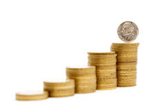 Pyramid of coins Royalty Free Stock Photo