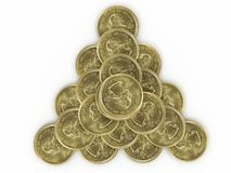 Pyramid of coins Royalty Free Stock Photos