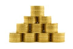 A pyramid from coins. isolated 2 Stock Images