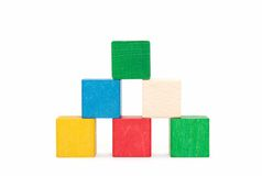 Pyramid of color blocks Stock Images