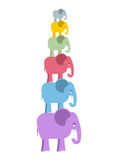 Pyramid color elephants. Colorful cute animals of jungle. Big an Stock Images