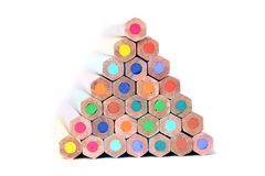 Pyramid of color pencils stock photography