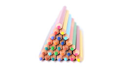Pyramid of color pencils stock photos