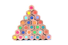 Pyramid of color pencils royalty free stock images