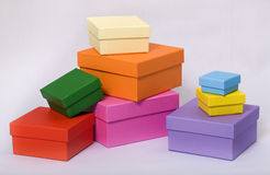 Pyramid of colored boxes for gifts Stock Images