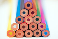 A pyramid of colored pencils Royalty Free Stock Image