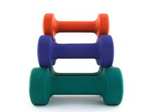 Pyramid of colorful dumbbells Royalty Free Stock Image