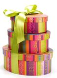 Pyramid of colorful gift boxes Royalty Free Stock Images