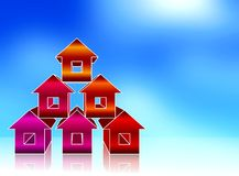 Pyramid coloured houses Stock Image