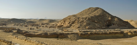 Pyramid complex of Pharaoh Unas in Saqqara. Pyramid complex of Pharaoh Unas, last of fifth dynasty of ancient kingdom, Archeological plant is at left, Saqqara Royalty Free Stock Photography