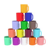 Pyramid composed of colorful ceramic cups. Isolated on white. High resolution 3D image stock photography