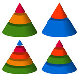 Pyramid, cone charts. 3-2-5-4 levels. Multilevel triangle 3d gra Stock Images