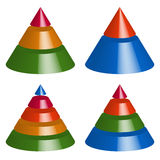 Pyramid, cone charts. 3-2-5-4 levels. Multilevel triangle 3d gra Stock Photos