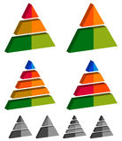 Pyramid, cone, triangle charts, graphs. 3-2-5-4 level, multileve Stock Photo