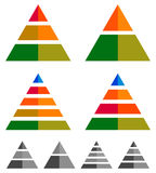 Pyramid, cone, triangle charts, graphs. 3-2-5-4 level, multileve Royalty Free Stock Photo