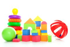 Pyramid, cubes, ball Royalty Free Stock Images