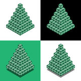 Pyramid of the cubes with dollar logo in isometric view. Money pyramid Royalty Free Stock Image