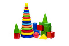 Pyramid and cubes. Educational toys Stock Images