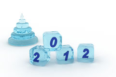 Pyramid and cubes from ice. Figures 2012 Royalty Free Stock Images