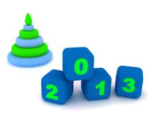 Pyramid and cubes with number 2013 Stock Photo