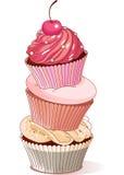 Pyramid of cupcakes Stock Photography