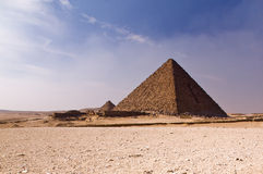 Pyramid in the desert Stock Images