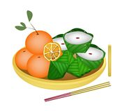 Pyramid Dessert and Chinese Pudding with Orange Royalty Free Stock Photo