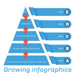 Pyramid diagram with arrows Royalty Free Stock Photography