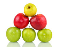 Pyramid of different apples on white background Royalty Free Stock Photos