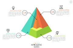 Pyramid divided into 4 parts of different color, percentage indication, thin line icons and text boxes. Stock Photos