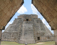 Pyramid of the diviner in Uxmal Stock Photo