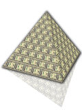 Pyramid of dollars. On a white background Royalty Free Stock Photo